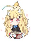 1girl :< ahoge animal animal_ears animal_on_head azur_lane bailingxiao_jiu bangs bird black_blazer black_footwear blazer blonde_hair blue_hair blue_neckwear blush book bow bowtie brown_skirt cat cat_ears cat_on_head chibi eldridge_(azur_lane) eyebrows_visible_through_hair facial_hair gradient_hair hair_ornament hairclip index_finger_raised jacket kemonomimi_mode kneehighs long_hair long_sleeves looking_at_viewer multicolored_hair on_head parted_lips petals red_eyes shoes sitting skirt solo striped_neckwear triangle_mouth two_side_up very_long_hair white_background white_legwear