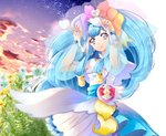 1girl arms_up bangs blue_eyes blue_hair bracelet closed_mouth cowboy_shot cure_ange dress earrings eyebrows_visible_through_hair flower highres hugtto!_precure jewelry layered_dress long_hair long_sleeves looking_at_viewer precure see-through shiny shiny_hair short_dress smile solo standing very_long_hair white_dress white_flower yakushiji_saaya yellow_flower yuutarou_(fukiiincho)