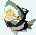 1girl apron black_dress black_hat blonde_hair bow braid chamaruku chibi closed_mouth commentary_request cosplay double-breasted dress full_body hair_bow hat hat_bow kigurumi kirisame_marisa no_nose red_bow running serious shark_costume short_hair sideways_mouth single_braid sketch solo touhou waist_apron white_apron white_bow |_|