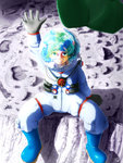 1girl artist_name artist_request blue_hair blurry crater depth_of_field earth footprints gloves green_eyes hand_up hat headwear_removed helmet highres kawashiro_nitori key light looking_at_viewer looking_up moon reflection shadow sitting smile solo space spacesuit touhou water