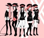 5girls bare_shoulders boots breasts cat_o'_nine_tails commentary_request darling_in_the_franxx expandable_baton hat holding_whip ichigo_(darling_in_the_franxx) ikuno_(darling_in_the_franxx) kokoro_(darling_in_the_franxx) large_breasts miku_(darling_in_the_franxx) multiple_girls peaked_cap riding_crop sakuragouti whip zero_two_(darling_in_the_franxx)