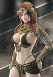 1girl 3d absurdres arm_at_side armor bikini_armor black_panties breasts brown_hair cleavage cowboy_shot egyptian egyptian_clothes eyelashes forehead_protector gorget green_eyes hand_on_hip headdress highleg highleg_panties highres jewelry kingdom_under_fire large_breasts lips loincloth long_hair looking_at_viewer midriff navel original panties panty_straps patterned_background pelvic_curtain ponytail ryanreos scale_armor seigaiha sideboob sidelocks spaulders standing thong underwear vambraces
