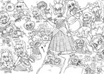 3boys 4girls :d anger_vein angry annoyed ayyk92 bespectacled black_sclera blood boo bowser bowsette bracelet bubble_blowing character_request chewing_gum collar commentary_request crown dr._crygor dress earrings english fang fangs fingernails futon glasses greyscale grin highres horns italian jewelry koopa_troopa laughing link long_dress looking_at_viewer luigi's_mansion mario mario_(series) monochrome moon_(majora's_mask) multiple_boys multiple_girls muscle navi new_super_mario_bros._u_deluxe nintendo_switch open_mouth ponytail princess_king_boo princess_peach ranguage ranma-chan ranma_1/2 shaded_face sharp_nails sharp_teeth signature simple_background sketch sleeping smile sparkle spiked_bracelet spiked_collar spikes sweatdrop teeth the_legend_of_zelda the_legend_of_zelda:_majora's_mask tongue tongue_out wario white_background wide-eyed zzz