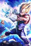 1boy aura blonde_hair bodysuit dragon_ball dragon_ball_z gloves grin james_ghio muscle sleeveless smile spiked_hair super_saiyan vegeta