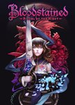 1girl absurdres black_hair bloodstained:_ritual_of_the_night blue_eyes breasts brown_hair detached_sleeves flower gauntlets gebel_(bloodstained) gradient_hair hair_between_eyes hair_ornament highres horns ikeda_mana miriam_(bloodstained) monster multicolored_hair official_art pale_skin petals reflection short_hair stained_glass sword tattoo weapon