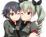 2girls anchovy anzio_military_uniform bangs belt black_hair black_neckwear black_ribbon black_shirt braid brown_eyes cheek-to-cheek closed_mouth commentary dress_shirt drill_hair eyebrows_visible_through_hair frown girls_und_panzer green_hair grey_jacket hair_ribbon jacket long_hair long_sleeves looking_at_viewer military military_uniform multiple_girls necktie one_eye_closed pepperoni_(girls_und_panzer) red_eyes ribbon sam_browne_belt shirt short_hair side-by-side side_braid simple_background smile sweatdrop twin_drills twintails umekichi uniform upper_body white_background