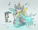 2girls breasts center_opening cleavage commentary frog league_of_legends leng_wa_guo long_hair medium_breasts mermaid midriff monster_girl multiple_girls music nami_(league_of_legends) navel rain scales singing sivir smile tail umbrella