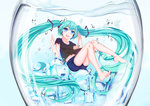 1girl :d absurdly_long_hair air_bubble aqua_hair bare_legs blue_eyes bubble cang_se_ye_hua cup denim denim_shorts floating_hair full_body hatsune_miku headset highres ice ice_cube in_container in_cup long_hair looking_at_viewer minigirl navel open_mouth short_shorts shorts smile solo submerged twintails very_long_hair vocaloid water