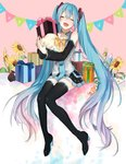 1girl absurdly_long_hair black_boots black_skirt blue_hair blue_nails blue_necktie boots box closed_eyes detached_sleeves eyebrows_visible_through_hair flower fullb_ody gift gift_box grey_shirt hair_between_eyes hair_ornament happy_birthday hatsune_miku high_heel_boots high_heels highres holding letter long_hair miniskirt moegi0926 nail_polish necktie open_mouth pink_background pleated_skirt shirt sitting skirt sleeveless sleeveless_shirt solo sunflower thigh_boots thighhighs twintails very_long_hair vocaloid yellow_flower
