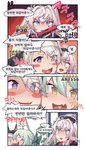 +_+ ... 3girls 4koma :d ahoge animal_ear_fluff animal_ears aningay art556_(girls_frontline) bangs beret black_headwear black_jacket blue_eyes blush blush_stickers bow braid character_name collared_shirt comic eyebrows_visible_through_hair facial_mark fang gameplay_mechanics girls_frontline green_bow green_hair grey_hair gun h&k_p30 habit hair_between_eyes hair_bow handgun hat heart heart_in_mouth highres holding holding_gun holding_weapon jacket korean_text multiple_girls nun object_namesake open_mouth p30_(girls_frontline) p7_(girls_frontline) pistol purple_eyes shirt short_eyebrows smile spoken_ellipsis star thick_eyebrows translation_request two_side_up weapon white_hair white_shirt