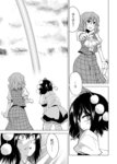 2girls :d blush comic greyscale hane_(hanegoya) hat kazami_yuuka monochrome multiple_girls open_mouth pointy_ears rainbow shameimaru_aya short_hair skirt smile tokin_hat touhou translated umbrella