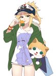 1girl ahoge alternate_costume artoria_pendragon_(all) bag blonde_hair bracelet candy citron_82 commentary_request cutoffs denim denim_shorts eyewear_on_head fate/apocrypha fate/grand_order fate_(series) food fur_trim green_eyes green_jacket hat highres holding hood jacket jewelry lollipop looking_at_viewer mordred_(fate) mordred_(fate)_(all) ponytail saber_lily shirt shorts solo stuffed_animal stuffed_toy sunglasses tongue tongue_out white_shirt