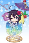 1girl ;) bikini black_bikini black_hair blue_eyes blush_stickers braid breasts cherry chibi cleavage closed_mouth cocktail_umbrella commentary_request crazy_straw drinking_straw flower food fruit hair_flower hair_ornament hair_ribbon heart_straw highres holding in_container kantai_collection long_hair medium_breasts neko_danshaku one_eye_closed purple_flower purple_umbrella red_flower red_ribbon ribbon shigure_(kantai_collection) single_braid smile solo sparkle star star_in_eye swimsuit symbol_in_eye tropical_drink very_long_hair
