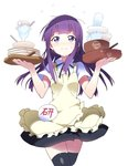 1girl 3: apron balancing black_legwear black_ribbon black_skirt blush bowl cowboy_shot flying_sweatdrops glass long_hair neck_ribbon plate purple_eyes purple_hair rassie_s ribbon shirt short_sleeves simple_background skirt solo sweatdrop thighhighs waitress white_background white_shirt working!! yamada_aoi