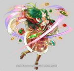 1girl bangs boots bow breasts cecilia_(fire_emblem) christmas christmas_ornaments christmas_present closed_eyes dated fire_emblem fire_emblem:_fuuin_no_tsurugi fire_emblem_heroes fur-trimmed_boots fur_trim gold_footwear green_bow green_eyes green_hair kita_senri knee_boots long_hair official_art open_mouth santa_boots simple_background solo yellow_bow