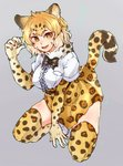 1girl :d absurdres animal_ears arm_support black_neckwear blonde_hair boots bow bowtie breast_pocket breasts chamyi commentary_request eyebrows_visible_through_hair frilled_shirt frills full_body fur_collar gao gloves gradient_hair hand_up heart high-waist_skirt highres jaguar_(kemono_friends) jaguar_ears jaguar_print jaguar_tail kemono_friends knee_boots looking_at_viewer multicolored_hair onomatopoeia open_mouth outstretched_arm platinum_blonde pocket print_gloves print_legwear print_neckwear print_skirt shirt short_hair short_sleeves skindentation skirt smile solo tail thighhighs two-tone_hair white_footwear white_pupils white_shirt yellow_eyes zettai_ryouiki