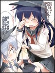 2girls akatsuki_(kantai_collection) anchor_symbol closed_eyes commentary_request crying flat_cap hat hibiki_(kantai_collection) kantai_collection long_hair multiple_girls neckerchief open_mouth pantyhose pantyhose_pull peeing peeing_self purple_hair school_uniform serafuku silver_hair skirt skirt_lift suka tears translated twitter_username wavy_mouth wiping_tears