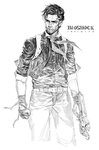 1boy ascot bioshock bioshock_infinite booker_dewitt ekao gun male monochrome realistic simple_background solo weapon