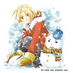 1boy ahoge blonde_hair braid breath edward_elric english fullmetal_alchemist gloves grin hood long_hair looking_at_viewer robe scarf smile snow snow_bunny snowing snowman solo winter yellow_eyes