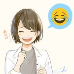 1girl :d absurdres blush breast_pocket brown_hair closed_eyes collared_jacket emoji eyebrows_visible_through_hair facing_viewer grey_background grey_shirt hair_ornament hairclip hand_up highres jacket laughing no_nose open_clothes open_jacket open_mouth original pocket sako_(user_ndpz5754) shirt short_hair signature simple_background smile solo upper_body white_jacket