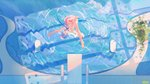 1girl :d >_< animal animal_on_head atdan bangs bare_arms bare_legs barefoot bikini blue_eyes blue_hair blue_ribbon blue_theme covering covering_crotch day diving diving_board dress_swimsuit falling feet from_above haiyi highres jellyfish looking_at_viewer on_head open_mouth outstretched_arms plant pool poolside ribbon ripples short_hair smile spread_arms strapless strapless_bikini swimsuit synthesizer_v upside-down vocaloid water window_shade