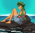 1girl barefoot commission dark_skin flower from_behind full_body green_eyes green_hair hair_flower hair_ornament headband highres light_smile lips long_hair looking_back low_twintails lying mao_(pokemon) ocean overall_shorts pokemon pokemon_(anime) pokemon_(game) pokemon_sm pokemon_sm_(anime) polyle pose rock solo strapless trial_captain tubetop twintails