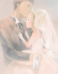 1boy 1girl bad_id bad_pixiv_id blonde_hair bridal_veil bride child couple dress gloves hetero highres hug kaga_rin kawachi_daikichi keipomjp spoilers usagi_drop veil wedding wedding_dress
