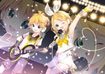 1boy 1girl anniversary arami_o_8 arm_up armpits bare_shoulders blonde_hair blush bow cable commentary confetti detached_sleeves fortissimo green_eyes guitar hair_bow hair_ornament hairclip headphones headset heart highres holding holding_microphone instrument kagamine_len kagamine_rin looking_at_viewer microphone music neck_ribbon necktie one_eye_closed playing_instrument ponytail projected_inset ribbon see-through see-through_sleeves shirt short_hair shorts smile spotlight treble_clef v vocaloid white_bow white_shirt yellow_neckwear
