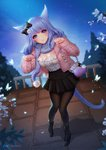 1girl animal_ears black_legwear blue_eyes bow breasts bug butterfly cardigan cat_ears cat_tail cleavage commission eyebrows_visible_through_hair final_fantasy final_fantasy_xiv flower hair_bow insect large_breasts leirix long_hair looking_at_viewer miqo'te open_cardigan open_clothes outdoors pantyhose paw_pose petals purple_hair scarf skirt smile solo standing tail watercraft