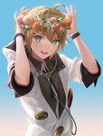 1boy ahoge arms_up black_shirt blonde_hair buttons cable collared_shirt commentary flower green_eyes head_wreath headphones kagamine_len leaf looking_at_viewer male_focus naoko_(naonocoto) neck_ribbon open_mouth orange_flower orange_rose pink_flower pink_rose project_diva_(series) red_flower red_rose ribbon rose shirt short_ponytail smile solo upper_body vocaloid white_edge_(module) white_flower white_hoodie wristband