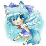 1girl :3 animal_ears bad_id bad_pixiv_id blue_eyes blue_hair blue_skirt blush bow chibi cirno dog_ears dog_tail fairy fang kemonomimi_mode open_mouth rebecca_(keinelove) ribbon shoes short_hair skirt socks solo tail touhou wings