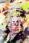 1girl abstract abstract_background anabone blonde_hair blue_eyes blush bow colorful commentary_request dress hat hat_ribbon highres kana_anaberal looking_at_viewer ribbon short_hair smile solo touhou white_headwear