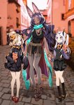 3girls abigail_williams_(fate/grand_order) bear belt blonde_hair blurry bow breasts cape closed_eyes closed_mouth collar crossed_bandaids depth_of_field fate_(series) hair_bow hair_bun hair_ornament hairclip heroic_spirit_traveling_outfit horn lavinia_whateley_(fate/grand_order) long_hair long_sleeves miwa_shirou multiple_girls multiple_hair_bows open_eyes open_mouth purple_hair queen_of_sheba_(fate/grand_order) ribbon scarf side_ponytail sleeves_past_wrists stuffed_animal stuffed_toy teddy_bear twintails very_long_hair waistcoat white_hair