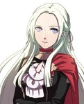 1girl blonde_hair blue_eyes cape cravat edelgard_von_hresvelgr_(fire_emblem) fire_emblem fire_emblem:_fuukasetsugetsu gloves hair_ornament kokouno_oyazi long_hair looking_at_viewer mole mole_under_mouth simple_background smile solo uniform white_background