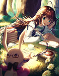 1girl :< alice_(wonderland) alice_in_wonderland antenna_hair aqua_eyes black_bow black_bowtie blue_dress blue_eyes blurry blush book book_stack bow bowtie brown_hair bunny chain chin_rest clock closed_mouth collared_shirt cup depth_of_field dress eyebrows_visible_through_hair flower forest fork frilled_sleeves frills glasses grass green_bow green_bowtie holding hopping long_hair looking_at_another lying nature on_stomach open_book open_mouth outdoors outstretched_arms plant pocket_watch red_eyes rosuuri saucer semi-rimless_glasses shirt sleeves_past_wrists spoon sunlight teacup tree turning_page under-rim_glasses very_long_hair watch white_rabbit white_shirt wing_collar