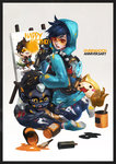 1boy 1girl absurdres alternate_costume alternate_hair_color blue_hair gorilla graffiti_tracer highres hood hoodie monori_rogue overwatch pachimari paint paint_can spray_can spray_paint tracer_(overwatch) winston_(overwatch) younger