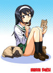 1girl :t bag bangs black_hair black_legwear black_neckwear blouse blue_background book brown_eyes cat closed_mouth commentary dated doughnut eating food full_body girls_und_panzer green_skirt hairband happy_birthday holding holding_book holding_food loafers long_hair long_sleeves looking_at_another miniskirt neckerchief ooarai_school_uniform oosaka_kanagawa paper_bag pleated_skirt polka_dot polka_dot_background reizei_mako school_uniform serafuku shoes sitting skirt smile socks solo white_blouse white_hairband