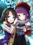 2girls :d arm_up bangs belt beret black_hair black_nails blue_eyes blue_jacket blunt_bangs blurry blurry_background blush checkered checkered_shirt commentary depth_of_field dress ear_piercing eyebrows_visible_through_hair fur_scarf grey_shirt hair_ornament hat holding holding_umbrella idolmaster idolmaster_shiny_colors jacket layered_dress long_hair looking_at_viewer mitsumine_yuika multiple_girls nail_polish night open_mouth outdoors piercing plaid plaid_scarf purple_eyes purple_hair red_headwear red_nails red_scarf rusha_(r_style) scarf shirt side-by-side smile standing striped_sleeves sweater_vest swept_bangs tanaka_mamimi transparent transparent_umbrella twintails umbrella upper_body upper_teeth