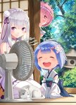 3girls :d ^_^ bangs bare_shoulders blue_hair blunt_bangs blush cat chibi closed_eyes commentary_request electric_fan emilia_(re:zero) eyebrows_visible_through_hair forest hair_ornament hair_ribbon hairband japanese_clothes kimono long_hair long_sleeves looking_at_viewer multiple_girls nature no_shoes obi one_eye_closed open_mouth peeking_out pink_eyes pink_hair puck_(re:zero) purple_eyes purple_hair ram_(re:zero) re:zero_kara_hajimeru_isekai_seikatsu rem_(re:zero) ribbon sash seiza short_hair signature sitting smile tears thighhighs tree veranda wariza white_kimono wide_sleeves yasuyuki younger