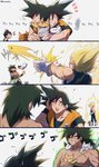 +++ 3boys 4koma ^_^ ^o^ anger_vein animal annoyed attack aura black_cat black_hair blonde_hair broly_(dragon_ball_super) cat chest chest_scar close-up closed_eyes comic dirty dragon_ball dragon_ball_super_broly energy_beam expressionless facing_away final_flash fingernails full_body grey_cat highres holding holding_animal holding_cat kuroxmitsu_kinako looking_back looking_up male_focus messy_hair multiple_boys nervous nervous_smile no_eyes o_o orange_cat outstretched_arms scar shirtless simple_background son_gokuu spiked_hair squiggle standing super_saiyan surprised sweatdrop too_many too_many_cats translated twitter_username vegeta white_background white_cat yellow_cat yellow_eyes