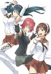 3girls armpits arms_up bangs black_hair blue_eyes blue_hair blush boots breasts brown_eyes brown_hair brown_skirt commentary_request detached_sleeves eyebrows_visible_through_hair floating_hair gloves green_skirt hair_between_eyes hair_intakes hair_ribbon hairband half-closed_eyes highres isuzu_(kantai_collection) jacket kantai_collection kinu_(kantai_collection) knee_boots large_breasts long_hair looking_at_another looking_at_viewer multiple_girls natori_(kantai_collection) negahami one_eye_closed open_mouth partly_fingerless_gloves pink_hair pleated_skirt pointing pointing_at_viewer red_hair remodel_(kantai_collection) ribbon school_uniform serafuku short_hair sidelocks skirt smile thighhighs thighs twintails white_background white_footwear white_hairband white_legwear