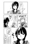 ... 2girls ? bangs blush comic commentary dot_eyes english frown greyscale holding_pocky kantai_collection kitakami_(kantai_collection) long_hair monochrome multiple_girls ooi_(kantai_collection) open_mouth pocky_day shaded_face smile sparkle spoken_ellipsis spoken_question_mark takamachiya thought_bubble translation_request