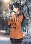 1girl aqua_hair bangs black_hair black_legwear blush breath brown_legwear coat coffee_cup cowboy_shot crown cup disposable_cup duffel_coat fate/grand_order fate_(series) forest gradient_hair headgear holding holding_cup ice_(ice_aptx) ishtar_(fate/grand_order) long_hair long_sleeves looking_at_viewer multicolored_hair nature outdoors pantyhose plaid plaid_skirt pleated_skirt red_eyes skirt snow solo standing tree winter winter_clothes winter_coat