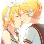 1boy 1girl bare_shoulders blonde_hair bloom blush bow brother_and_sister closed_eyes face-to-face hair_bow hair_ornament hairclip headphones headset kagamine_len kagamine_rin noses_touching reki_(arequa) sailor_collar shirt short_hair short_ponytail siblings sleeveless sleeveless_shirt smile twins vocaloid