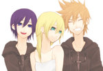 1boy 2girls ^_^ bad_id bad_pixiv_id black_coat_(kingdom_hearts) black_hair blonde_hair closed_eyes dress hood hoodie kaikun kingdom_hearts kingdom_hearts_358/2_days kingdom_hearts_ii long_hair multiple_girls namine roxas short_hair simple_background smile spiked_hair tears white_background white_dress xion_(kingdom_hearts)