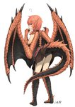 1girl ? animal_ears ass barefoot black_panties blush brown_skirt claws commentary_request dragon_girl dragon_tail dragon_wings full_body highres hitokuirou lifted_by_self looking_at_viewer looking_back monster_girl orange_hair original pale_skin panties pleated_skirt red_eyes scales short_hair signature simple_background skirt skirt_lift solo solo_vivace_(hitokuirou) standing tail tail_lift underwear white_background wings