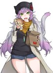 1girl absurdres animal_ears animal_hat atalanta_(alter)_(fate) atalanta_(fate) bag bangs black_hat black_nails black_sweater blue_shorts brand_name_imitation breasts brown_coat cabbie_hat cat_ears cat_girl cat_hat cat_tail coat eyebrows_visible_through_hair fangs fate/grand_order fate_(series) food gradient_hair green_eyes hair_between_eyes hamburger hat head_tilt highres holding holding_food kirishina_(raindrop-050928) long_sleeves multicolored multicolored_hair multicolored_nails nail_polish open_clothes open_coat open_mouth paper_bag purple_hair purple_nails short_shorts shorts silver_hair simple_background small_breasts solo sweater tail tail_raised white_background