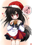 +_+ 1girl animal_ears bare_shoulders blush brooch brown_hair choker dress fang food hat highres imaizumi_kagerou iwaki_hazuki jewelry long_hair looking_at_viewer nail_polish open_mouth red_eyes saliva santa_hat solo symbol-shaped_pupils tail tail_wagging touhou translated wolf_ears wolf_tail