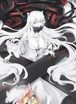 1girl black_nails collarbone covered_mouth dress fire frilled_sleeves frills horns kantai_collection kz_nagomiya long_hair long_sleeves midway_hime pale_skin shinkaisei-kan solo turret very_long_hair white_dress white_hair white_skin yellow_eyes