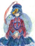 1girl beads blue_eyes blue_hair dress hat highres jiangshi long_sleeves miyako_yoshika ofuda one_eye_covered piyo_(piyoko528) short_hair skirt smile solo touhou traditional_media watercolor_(medium) white_background